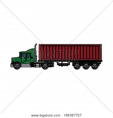 truck container shipping cargo outline vector illustration