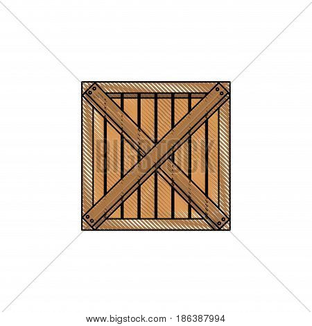 wooden box cargo delivery merchandise vector illustration