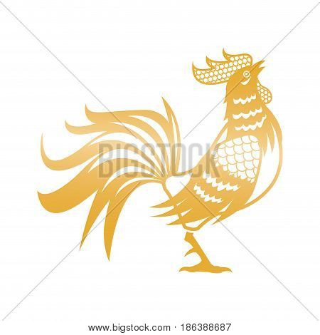 golden rooster for chinese new year celebration vector illustration