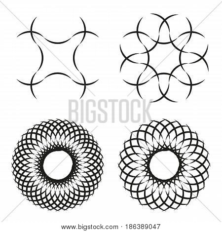 Set of 4 spirograph flower ornaments black line elements isolated on white