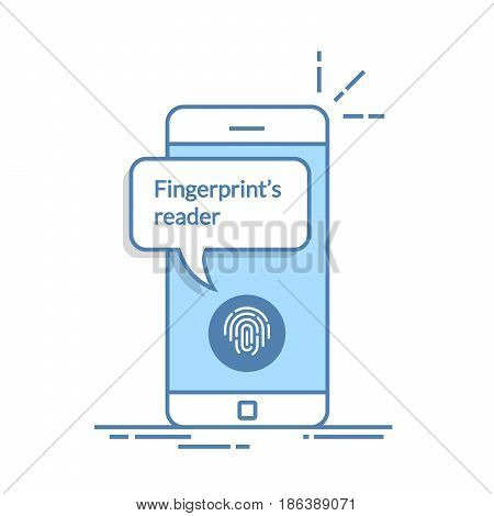 Smartphone unlocked with fingerprint button, mobile phone security, cellphone user authorization, login, protection technology. Thin line vector illustration isolated on white background