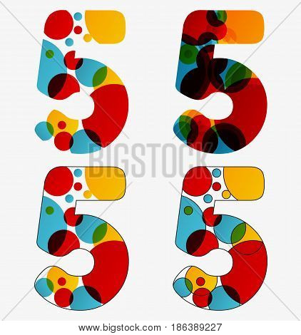 Set Of 4 Isolated Abstract Lava Lamp Styled Number Five - 5, Vivid Colors