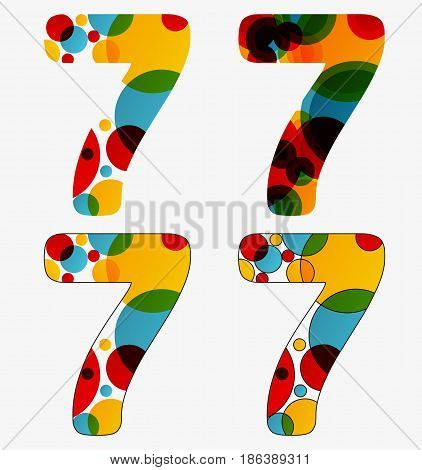 Set Of 4 Isolated Abstract Lava Lamp Styled Number Seven - 7, Vivid Colors