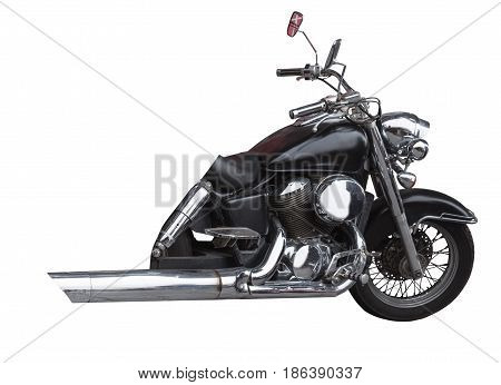 front end black motorcycle isolated on white background