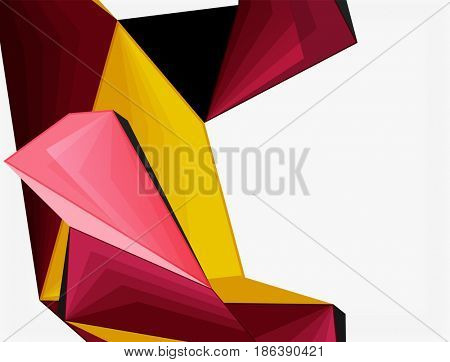 Low poly geometric 3d shape futuristic modern background. blank template for your text or design