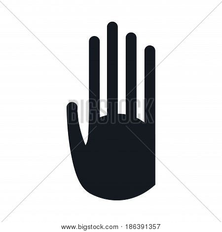 pictogram hand stop signal image vector illustration