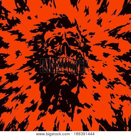 The head of the monster with a torn face. Vector illustration. The horror genre.
