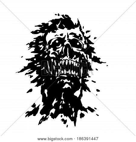 Scary screaming vampire head. Vector illustration. The horror genre.
