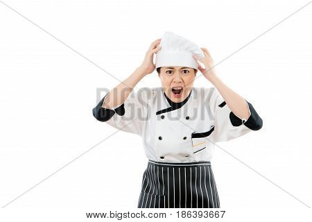 Woman Chef Shocked And Grab Her Head