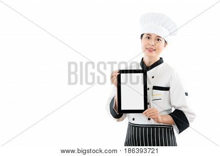 Chef Woman Showing Digital Tablet Pad