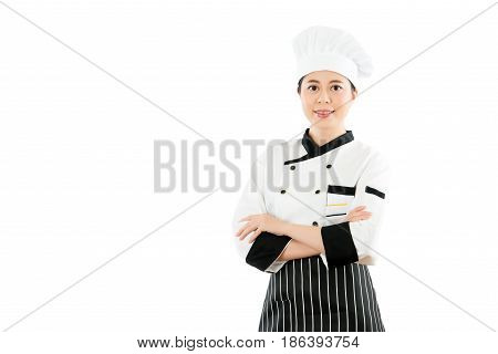 Successful Asian Woman Chef Cross Arm