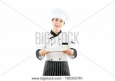 Restaurant Female Chef Introducing Gesture