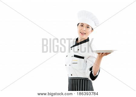Beautiful Asian Chef Holding Blank Plate