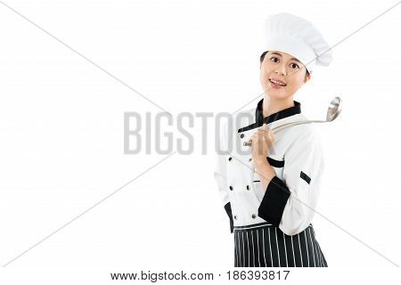 Smiling Restaurant Chef Holding A Spoon.