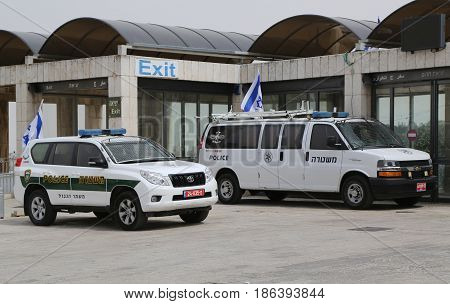 JERUSALEM, ISRAEL - APRIL 30, 2017: Israeli police cars provide security in the Old City of Jerusalem.