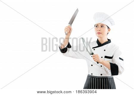The Chef Standing On The White Wall Background
