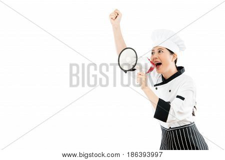 Pretty Chef Looking At The Blank Copyspace