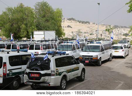JERUSALEM, ISRAEL - APRIL 30, 2017: Israeli police cars provide security in the Old City of Jerusalem.