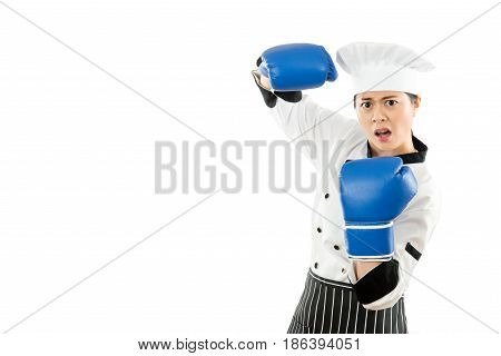 Angry Asian Chinese Cook Woman Wearing Blue Boxing