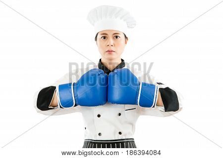 Beautiful Cooking Woman Wearing Boxing Gloves
