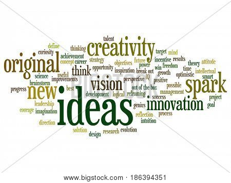 Concept or conceptual creative new idea brainstorming abstract word cloud isolated on background. Collage of spark creativity, original innovation vision, think, achievement, smart genius text