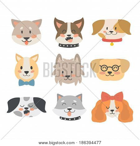 Funny cartoon dog character bread heads in cartoon style happy puppy and isolated friendly mammal vector illustration. Domestic element flat comic adorable mascot canine.