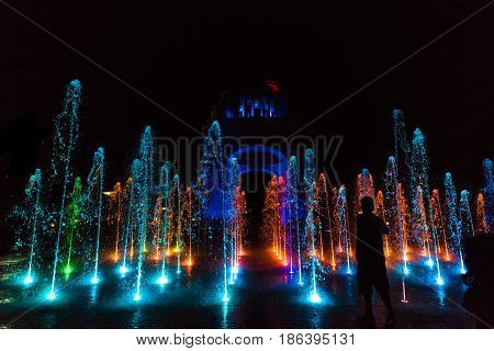Fountain show at the Monument to the Mexican Revolution (Monumento a la Revolución) located in Republic Square, Mexico City at night