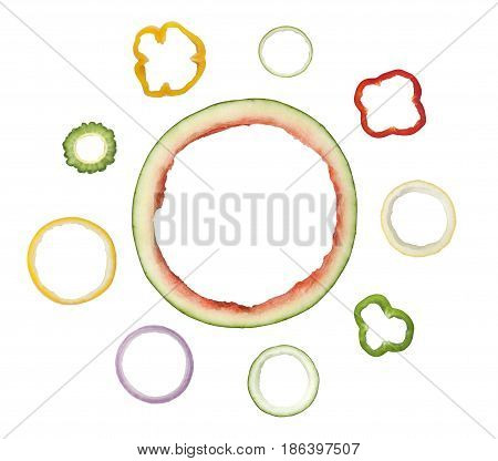 Different types of ring shaped fruit and vegetable peel isolated on white background