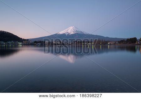 Mt.fuji At Lake Kawaguchiko In Japan. Mt.fuji Reflection On Sunrise.