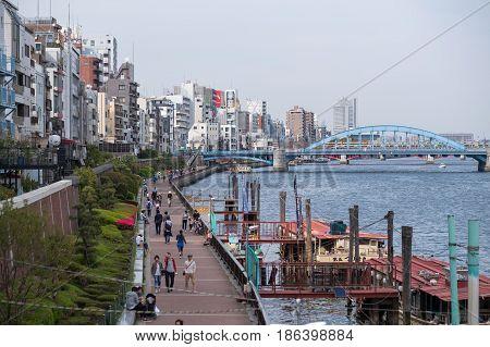 SUMIDA-KU TOKYO JAPAN - APR 162017 : City view along Sumida river near Asakusa town on 16 April 2017.