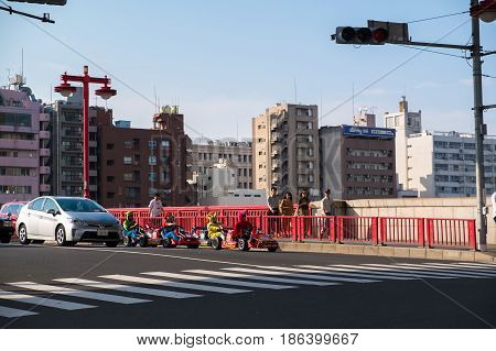 Sumida-ku, Tokyo, Japan - Apr 16,2017 : City View Along Sumida River Near Asakusa Town On 16 April,
