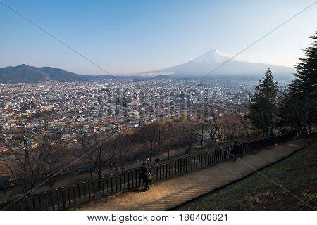 Fujiyoshida City View From Asakurayama Sengen Park, Yamanashi, Japan.