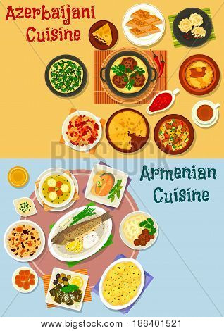 Armenian and azerbaijani cuisine icon set of rice pilaf with fruit, vegetable lamb stew, baked fish and chicken, dolma, potato with meatball, fish pie, omelette, nut and honey baklava, meatball soup