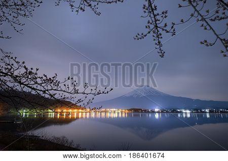 Mt.fuji With Lake Kawaguchiko At Night, Yamanashi, Japan.