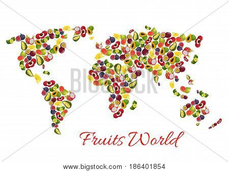 Fruits world map of vector carambola or star fruit and dragon fruit pitaya, mango and grapefruit or orange, guava and longan, figs or rambutan, passionfruit maracuya and feijoa, durian or mangosteen