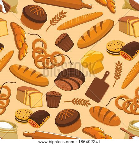 Bakery seamless pattern of wheat and rye bread loaf, bagel with croissant, pretzel and cinnamon roll bun, muffin and dessert pie, baker rolling pin and cutting board for bakery shop