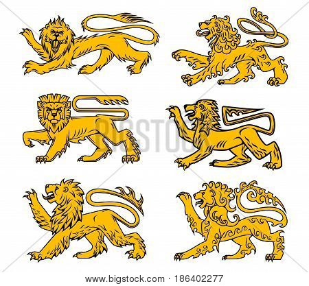 Lion heraldic animal isolated icon set. Golden lion passant profile with right foot and tail raised. Medieval royal heraldry symbol, tattoo, coat of arms and mascot design