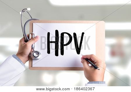 Hpv Concept Virus Vaccine With Syringe Hpv Criteria For Pap Smear Slide Cytology.