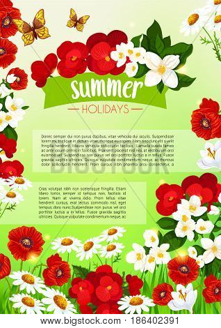 Summer holidays vector poster template design of summertime flowers and floral bouquets of blooming begonia, crocuses and daisy buds or viola petals and butterflies on garden poppy blossoms