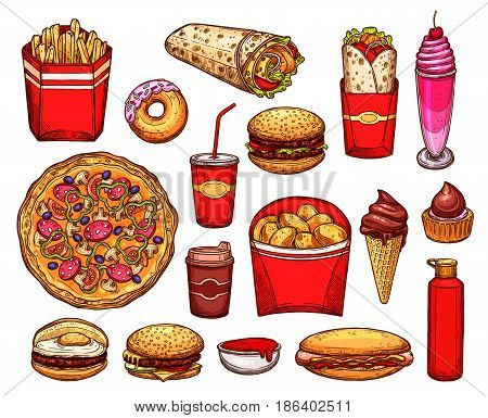 Fast food meal and drink sketches. Hamburger and hot dog, pizza, donut and egg sandwich, coffee and french fries, sweet soda, meat burrito, potato chips and ice cream, cupcake, milkshake and sauce