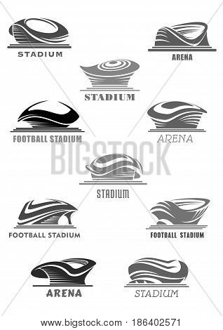 Sport stadium or football arena vector isolated futuristic or modern linear icons set design. Sporting field symbols or badges of dome covered playfiled for soccer or championship games
