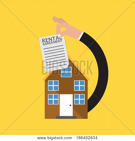 Real Estate With Rental Agreement Vector Illustration. EPS 10