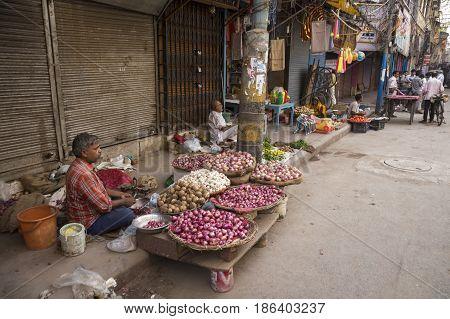 DELHI INDIA - JUN 7 : street fresh food market in chawri bazar in old delhi of delhi on june 7 2015 india. this market is aged and large hardware market of delhi