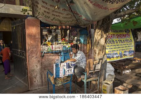DELHI INDIA-JUN 10 : street barber shop in old delhi of delhi on june 10 2015.