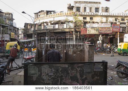 DELHI INDIA-JUN 10 : public toilet in spice market in old delhi of delhi on june 10 2015 india