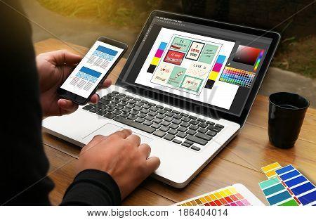 Creative Designer Graphic At Work. Color Swatch Samples, Illustrator Graphic Designer Working Digita