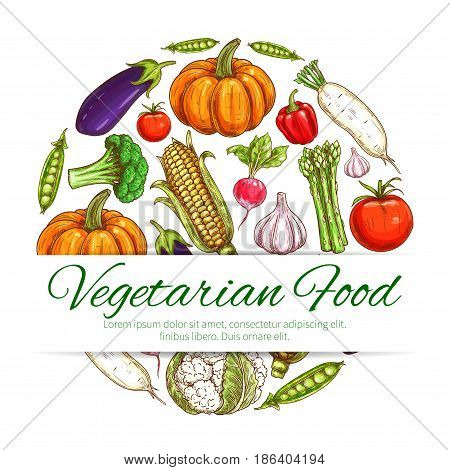 Vegetable round symbol of vegetarian food. Tomato, pepper, broccoli, radish, garlic, eggplant, corn, pumpkin, green pea, asparagus, daikon and cauliflower fresh veggies for farm market label design