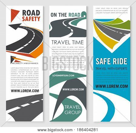 Road safety, travel and car trip banner set. Turn of asphalt highway, road tunnel, coastal freeway with sand roadside and green hill symbol for web banner, flyer and brochure cover design