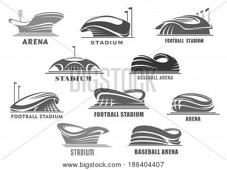 Sport stadium or arena vector isolated icons set. Futuristic or modern linear sport stadium design with lamps and flag poles. Sporting field symbols or badges of playfield for soccer or football game