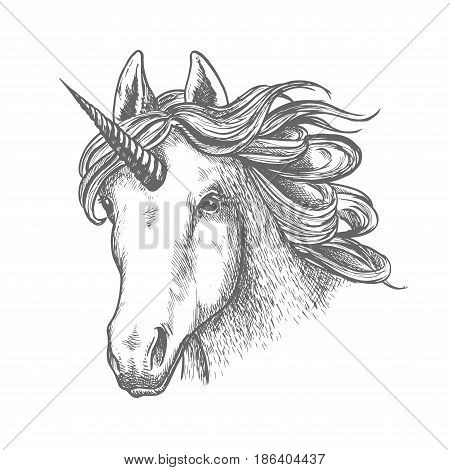Unicorn animal head with horn. Wild myth mare with wavy mane sign, legendary antique character. Can be used for imagination or magic, ancient greek or europe middle ages folklore, renaissance theme